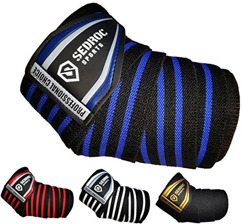 Sedroc Sports Professional Weight Lifting Elbow Wraps Powerlifting Support Sleeves - Pair (Black/Blue)