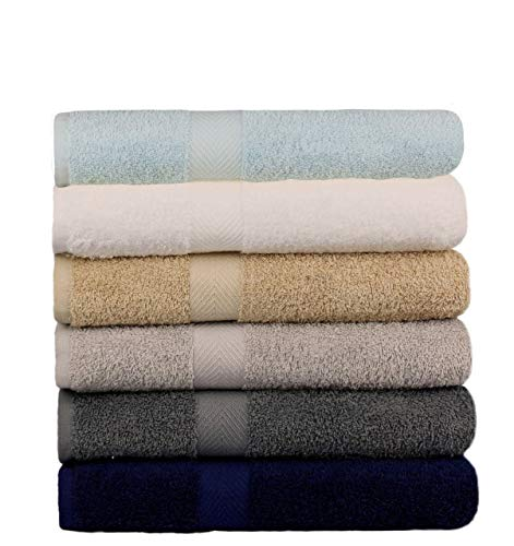 BEST TOWEL 6-Pack Bath Towels - Extra-Absorbent - 100% Cotton - 27' x 54' (Multi, 6 Pack Bath Towel)