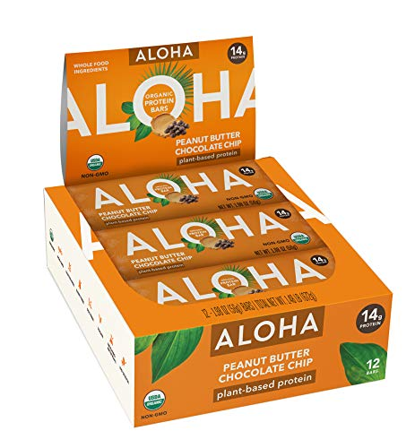 ALOHA Organic Plant Based Protein Bars |Peanut Butter Chocolate Chip | 12 Count, 1.9oz Bars | Vegan, Low Sugar, Gluten Free, Paleo, Low Carb, Non-GMO, Stevia Free, Soy Free, No Sugar Alcohols