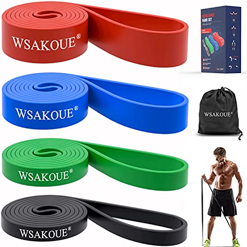 WSAKOUE Pull Up Assistance Bands, Resistance Bands Set for Men & Women, Exercise Bands Workout Bands for Working Out, Body Stretching, Powerlifting, Resistance Training (Set-4)