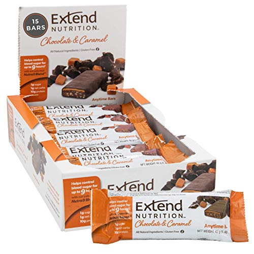 Extend Bar Hunger Control Weight Loss Support Protein Bars, Chocolate & Caramel, 15 Count, 1.48 Ounce