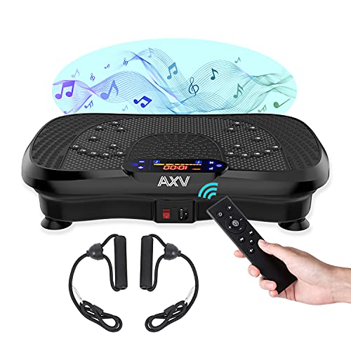AXV Vibration Plate Exercise Machine Whole Body Workout Vibrate Fitness Platform with Music Speaker Fitness Bands for Weight Loss Shaping Toning Wellness Home Gyms Workout