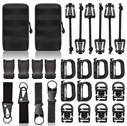 """Molle Accessories Kit of 28 Attachments, D-Ring Grimloc Locking Gear Clip for 1"""" Webbing Strap Tactical Backpack Web Dominator Elastic Strings Strap"""