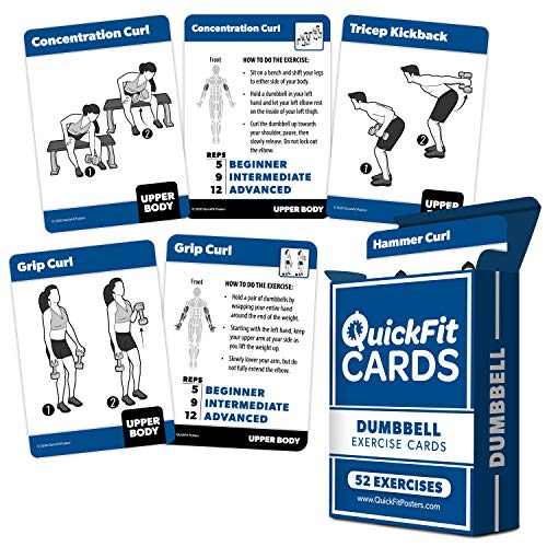 Dumbbell Exercise Cards - Fitness Playing Cards With Over 50 Dumbbell Workouts - 2.5' x 3.5' (Standard Playing Card Size)