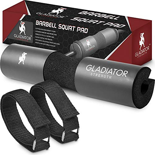 Gladiator Strength Barbell Pad– 17.5'' Extra Thick Hip Thruster Pad/Squat Bar Neck Pad for Lunges, Squats & More for 2'' Olympic & Smith Machine Bars-Bonus Straps Included