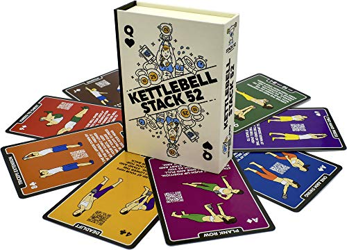 Stack 52 Kettlebell Exercise Cards. Workout Playing Card Game. Video Instructions Included. Learn Kettle Bell Moves and Conditioning Drills. Home Fitness Training Program. (2019 Updated Deck)