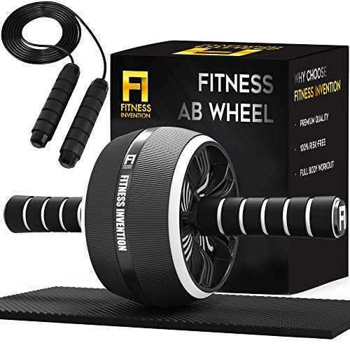 Fitness Invention Ab Roller Wheel - 3-in-1 Ab Wheel Roller with Knee Mat and Jump Rope - Ab Roller Wheel for Abdominal Exercise - Ab Workout - Home Workout Equipment - Abs Wheel Roller - Abs Roller