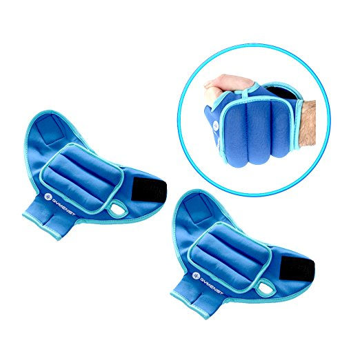 GYMENIST Pair of Glove Wrist Weights with Holes for Finger and Thumb (1 LB)