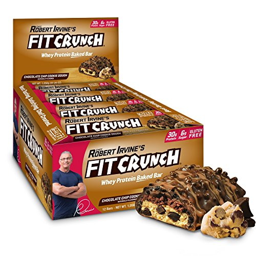 FITCRUNCH Protein Bars | Designed by Robert Irvine | World's Only 6-Layer Baked Bar | Just 6g of Sugar & Soft Cake Core (12 Bars, Chocolate Chip Cookie Dough)