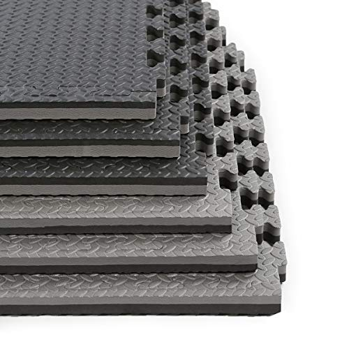 Clevr 1' Extra Thick Reversible Interlocking EVA Gym Foam Floor Mat Tiles (24' x 24'), Protective Flooring for Gym Equipment, 1 Year Limited Warranty, Steel Pattern,12 pcs, 48 sqft, Black and Grey