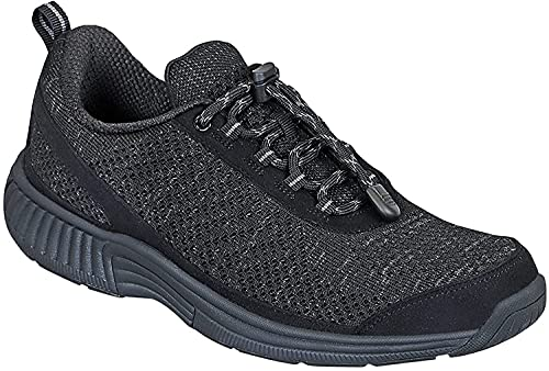 Orthofeet Proven Plantar Fasciitis, Foot and Heel Pain Relief. Extended Widths. Orthopedic Walking Shoes Diabetic Bunions Women's Sneakers, Coral No-tie Black