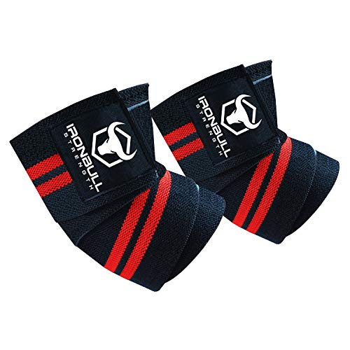 Elbow Wraps (1 Pair) - 40' Elastic Elbow Support & Compression - For Weightlifting, Powerlifting, Fitness, Cross Training & Gym Workout - Elbow Straps for Weight Lifting (Black/Red)