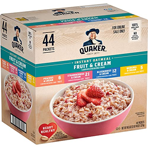 Quaker Instant Oatmeal Fruit & Cream Variety Pack 44ct