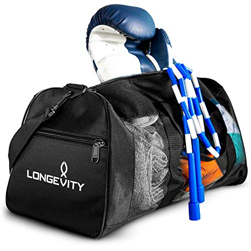 Longevity Gear Mesh Duffle Bag   Boxing Bag   Gym Bag   MMA, BJJ, Swimmers, Active Athletes   Breathable Duffel Bag for Sweaty Clothes and Equipment   No More Stink
