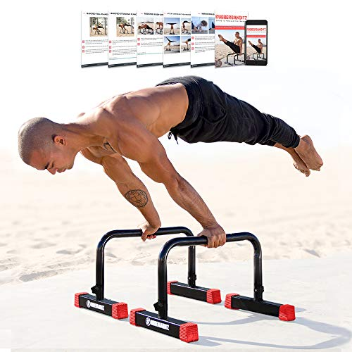 Rubberbanditz Parallettes Push Up & Dip Bars   Heavy Duty, Non-Slip Parallete Stand for Crossfit, Gymnastics, & Bodyweight Training Workouts