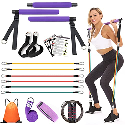 YXILEE Pilates bar kit with Resistance Bands for Women Men Exercise Band (10 15 20 lbs) Home Gym - Jump Rope - Sport Bag - Workout Equipment for Legs Hip Waist Arm Thighs - Free Guide & Videos