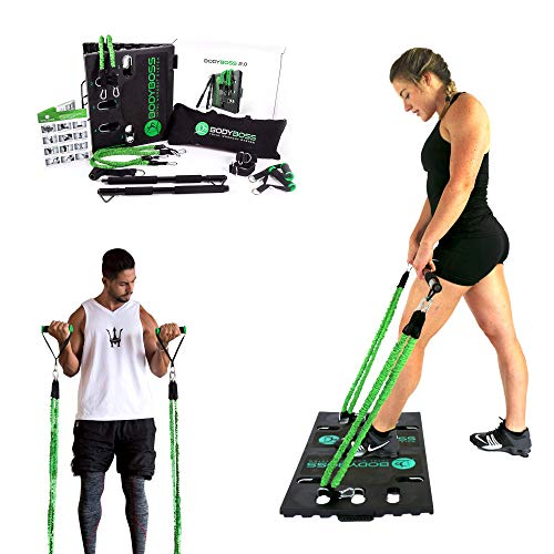 BodyBoss Home Gym 2.0 - Full Portable Gym + Extra Set of Resistance Bands, Green