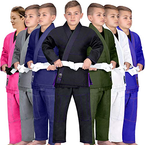 Elite Sports Kids BJJ GI, Youth Jiu Jitsu IBJJF Children's Brazilian Jiujitsu Kimono W/Preshrunk Fabric & Free Belt (Black, C2)