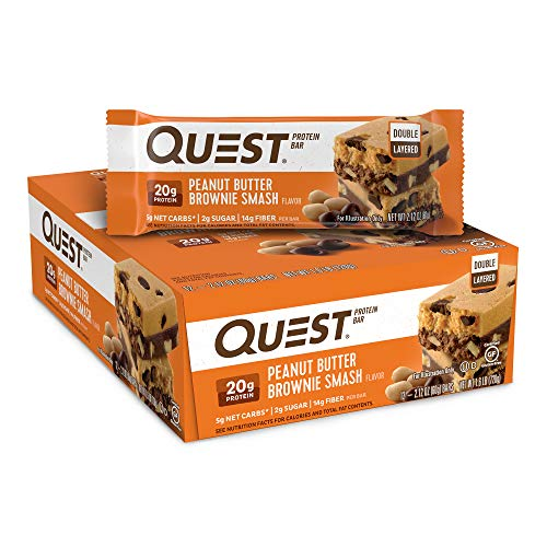 Quest Nutrition Peanut Butter Brownie Smash Protein Bar, High Protein, Low Carb, Gluten Free, Keto Friendly, 12 Count