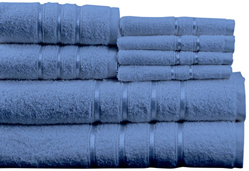 Lavish Home 8 Piece 100% Cotton Plush Bath Towel Set - Blue