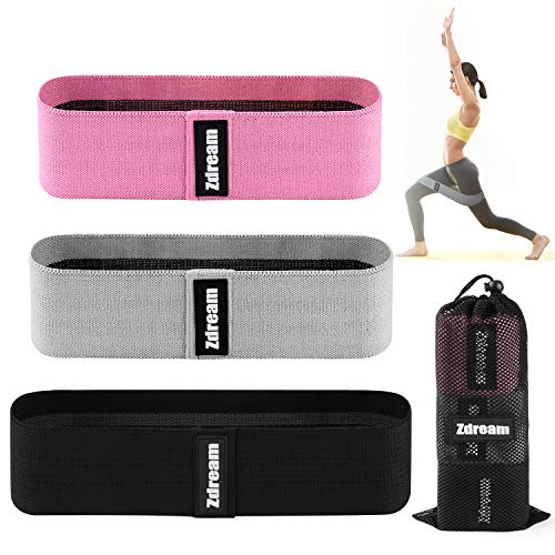 Zdream Resistance Bands(3 Pack Set) for Legs and Butt, Exercise Bands Leg,Set Booty Bands Hip Bands,Wide Workout Bands Resistance Loop Bands ,Fabric Anti Slip Circle Fitness Band Elastic