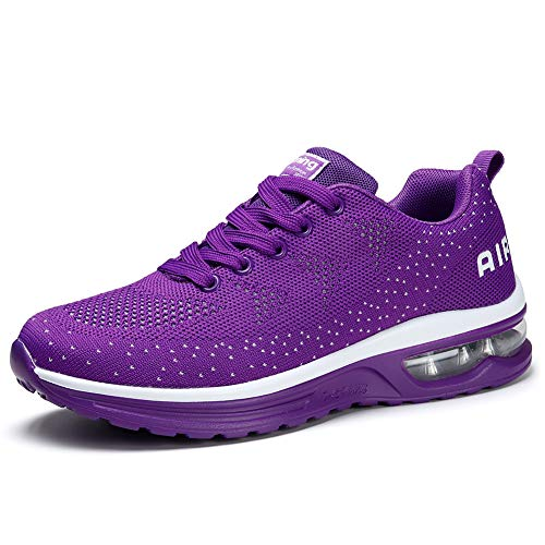 Women's Road Running Sneakers Fashion Sport Air Fitness Workout Gym Jogging Walking Shoes 8 Purple