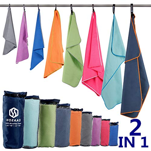 HOEAAS 2 Pack Microfiber Camping Towels, Quick Dry Towel, Super Absorbent Ultra Compact Travel Towel Soft Lightweight Sports Towel for Sweat Fast Drying Towels for Pool,Gym,Hiking,Backpacking,Fitness