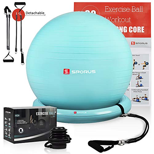 SPORUS Exercise Ball Chair (65cm), Yoga Ball for Office and Fitness with Stability Ball Base & Workout Poster, Improve Balance, Core Strength & Posture for Gym & Home Blue [Quick Pump Included]