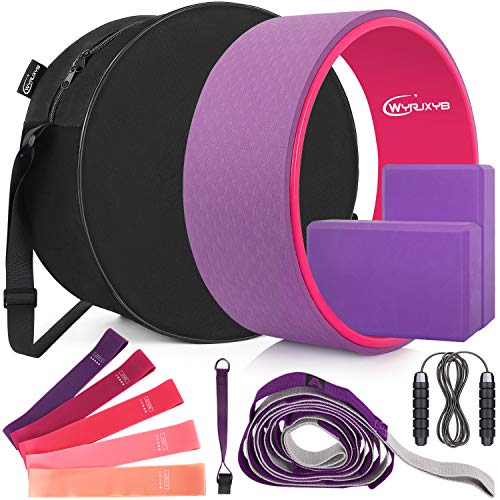 WYRJXYB Yoga Wheel Set (11-in-1), Yoga Back Roller and 2 Yoga Blocks with Strap for Back Pain, Stretching and Improving Backbends, Include Resistance Bands,Yoga Wheel Bag and Jump Rope (Purple)