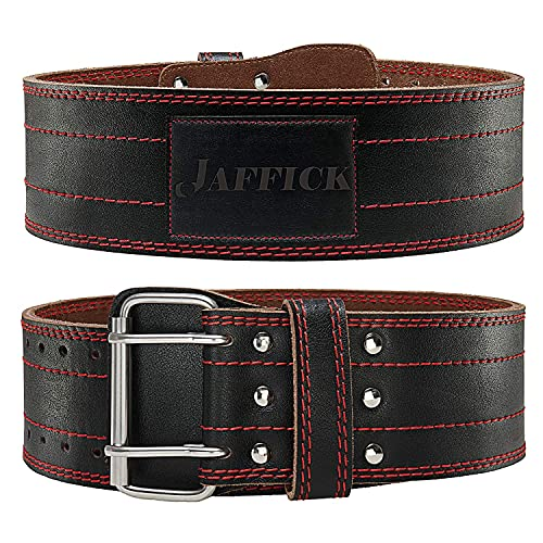 Jaffick Genuine Leather Weight Lifting Belt for Men Women Fitness Weightlifting Exercise Adjustable Back Support of Heavy Stability Strength Training for Gym Squat Deadlift up to 700 lbs (8mm Thicken)