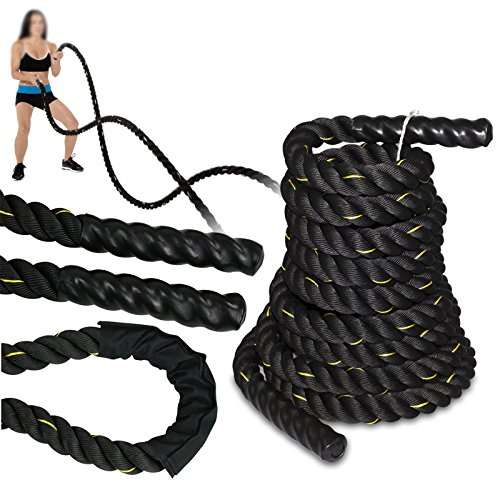 SUPER DEAL Black 1.5' Poly Dacron 30ft Battle Rope Workout Training Undulation Rope Fitness Rope Exercise (1.530 Black)