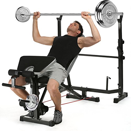 Aceshin 330lbs Adjustable Olympic Weight Bench with Preacher Curl & Leg Developer, Lifting Press Gym Exercise Equipment for Full-Body Workout