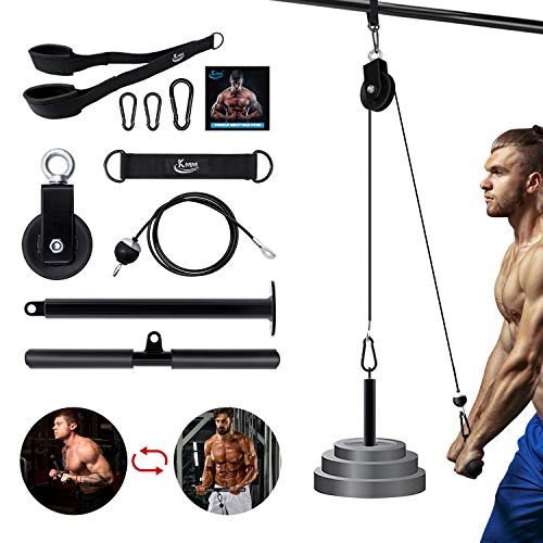 KMM Pulley System for Weight Training, LAT Pull Down Machine Cable Pulley Attachment Home Gym Workout Equipment with Upgraded Loading Pin, Straight Bar, for Biceps Curl, Forearm, Triceps Exercise