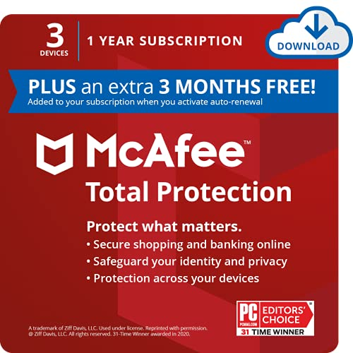 McAfee Total Protection 2021, 3 Device Antivirus Internet Security Software, Password Manager, Privacy, 1 Year Subscription (PLUS an extra 3 MONTHS FREE) - Download Code