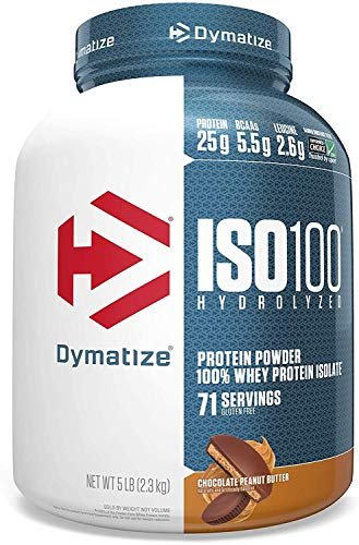 Dymatize ISO 100 Whey Protein Powder with 25g of Hydrolyzed 100% Whey Isolate, Chocolate Peanut Butter, 5 Pound