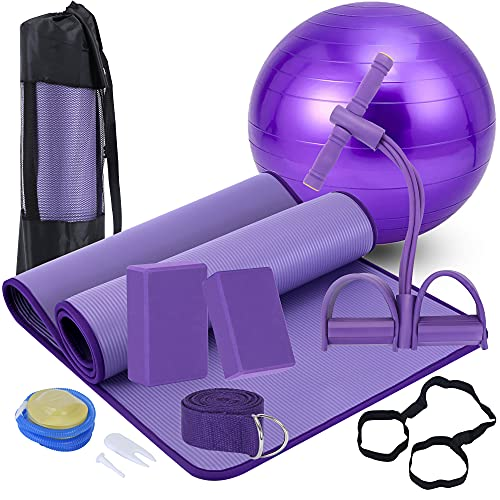 Yoga Mat Set for Beginners,Yoga Mat with Carrying Strap,Yoga Blocks 2 Pack with Yoga Strap,Yoga Ball,Ankle Puller,11-Piece Yoga Kits and Sets for Beginners,Yoga Starter Kit for Women Men (Purple)