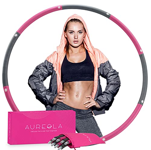 AUREOLA Weighted Hula Hoop for Exercise and Home Workout, Hula Hoops for Adults Weight Loss, 8 Sections Hoola Hoop for Adults Weight Loss, Weighted Hoola Hoop for Adults