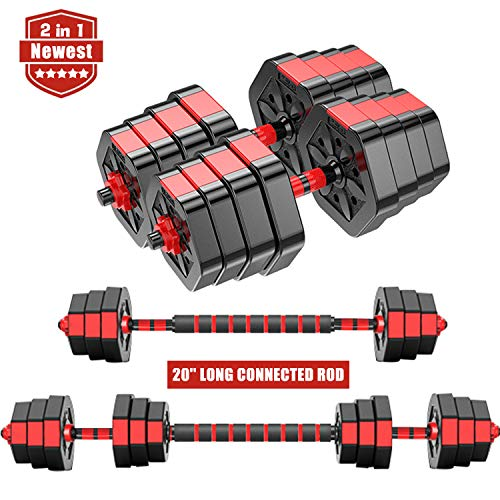 ER KANG 2 in 1 Adjustable Dumbbell Set, 66 LBS Free Weights Dumbbells with Connecting Rod, Lifting Dumbbells Used As Barbell for Whole Body Workout Home Gym, 2 Pair/Set (Red)
