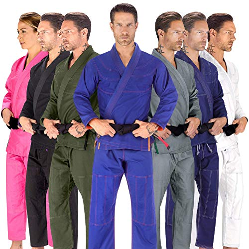 Elite Sports BJJ GI for Men IBJJF Kimono BJJ Jiu Jitsu Lightweight GIS W/Preshrunk Fabric & Free Belt (Blue, A2)
