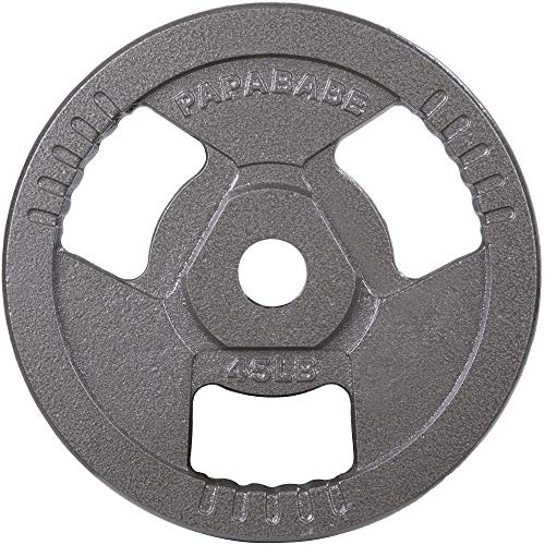 papababe Weight Plates 2-Inch Olympic Grip Plate Sets for Strength and Conditioning Workouts and Weightlifting (45 LB, Single)