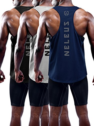 Neleus Men's 3 Pack Dry Fit Muscle Tank Workout Gym Shirt,5031,Black,Navy,Grey,M,EU L