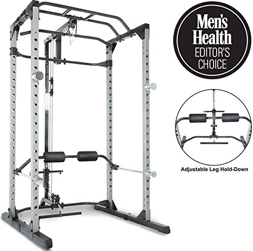 Fitness Reality 810XLT Super Max Power Cage with Optional Lat Pull-down Attachment and Adjustable Leg Hold-down, Power Cage with Lat Pull-down