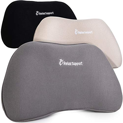 RS1 Back Support Pillow by Relax Support – Lumbar Pillow Upper and Lower Back for Chair Back Pain Uses ArcContour Special Patented Technology Has Unique Convex Shape for a Pain Free Back