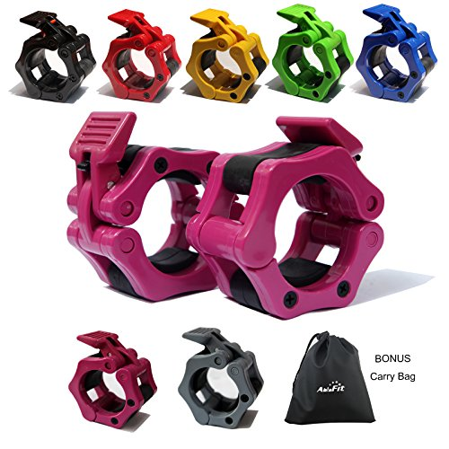 """AbraFit 2"""" Olympic Barbell Clamps - Solid ABS Locking Barbell Collars with Quick Release - for Professional Training Strong Lifts and Olympic Training- Set of 2 (Free Bag !!!) (Rose)"""