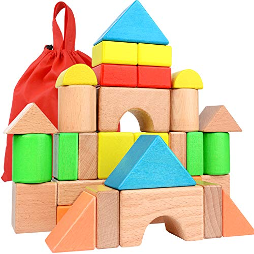 Large Wooden Building Blocks Set - Educational Preschool Learning Toys with Carrying Bag , Toddler Blocks Toys for 3+ Year Old Boy and Girl Gifts .