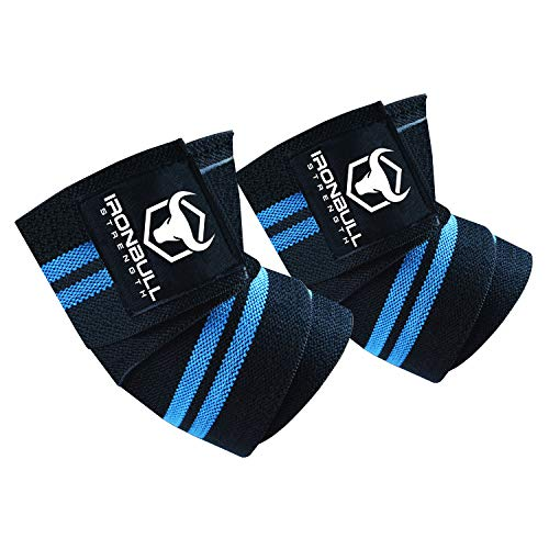 Elbow Wraps (1 Pair) - 40' Elastic Elbow Support & Compression - For Weightlifting, Powerlifting, Fitness, Cross Training & Gym Workout - Elbow Straps for Weight Lifting (Black/Blue)