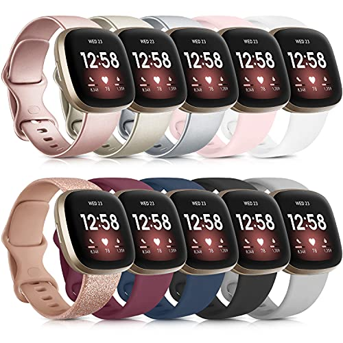 [10 Pack] Bands Compatible with Fitbit Versa 3 Bands for Women Men, Soft Silicone Accessories Wristbands Replacement for Fitbit Sense/Fitbit Versa 3