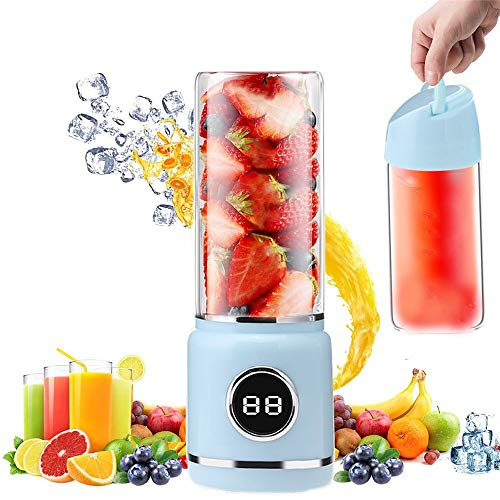 Portable Blender, TOPROAD Personal Smoothie Blender Cordless Mini Juicer Cup 420ML Fruit Small Juice Mixer with USB Rechargeable and 6 PCS Stainless Steel Blades for Shakes, Smoothies, Home, Travel & Gym, BPA Free