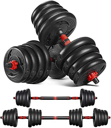 MOVTOTOP Adjustable Dumbbells Set Barbell Weight Set 66LBS-Solid Dumbbell Weights with Long Connecting Rod and Non-Slip Handle Easy-Adjusting Nut Durable Dumbbells Set