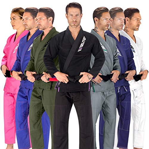 Elite Sports BJJ GI for Men IBJJF Kimono BJJ Jiujitsu GIS W/Preshrunk Fabric & Free Belt (See Special Sizing Guide) (Black, Size 2)